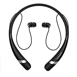 Bluetooth Headphones COULAX CX04 Bluetooth V4.1 Wireless Neckband Headset In-ear Sweatproof Sports Earbuds for Running with Mic (10 Hours Play Time, CVC 6.0 Noise Cancelling)