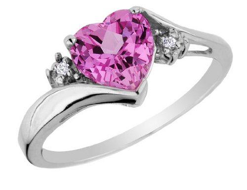 Pink Sapphire Heart Ring with Diamonds 3/4 Carat (ctw) in 10K White Gold, Size 6