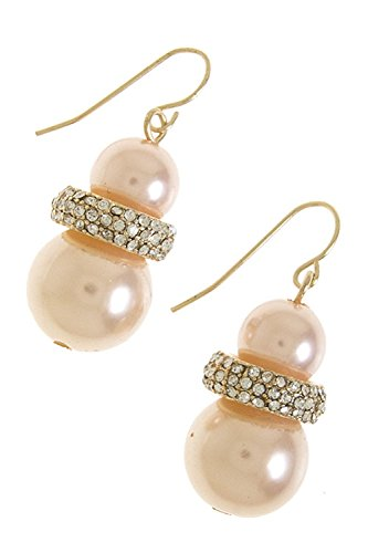 [KARMAS CANVAS DOUBLE PEARL DROP EARRINGS (Peach)] (Minnie Mouse Nose)