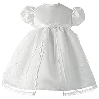 Lauren Madison Baby-Girls Newborn Christening Baptism Special Occasion Organza Floral Embroidered Dress Gown Outfit with Pearl and Sequins Trim., White, 12 Months