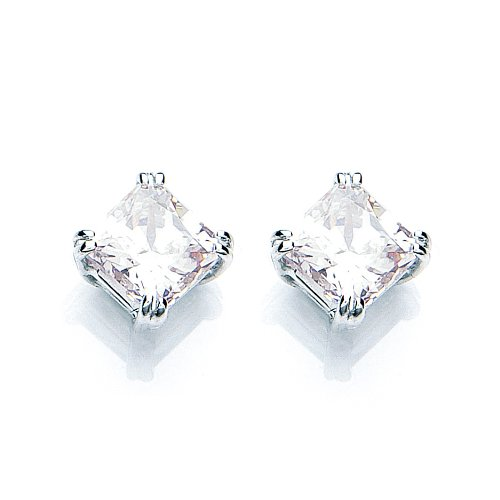 9ct White Gold Swarovski Enlightened C.Z. French Fitting Square Earrings