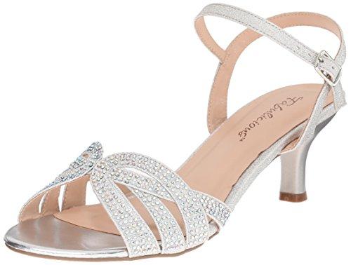 Fabulicious Women's AUD03/Sfa Dress Sandal, Silver Shimmering Fabric, 10 M US