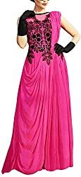 Qudrat Fashions Women's Georgette Straight Semi-Stitched Gown (RSFGOWN_08, Pink)