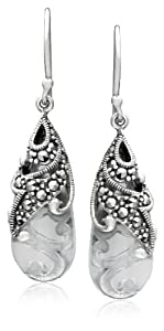 Sterling Silver Marcasite and Clear Glass Teardrop Earrings