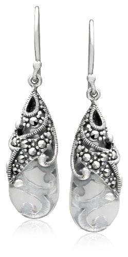 Sterling Silver Marcasite and Colored Glass Teardrop