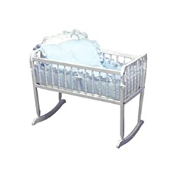Baby Doll Bedding Pretty Pique Cradle Set, Blue