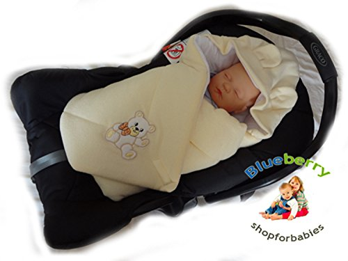 Blueberry Shop Hooded Warm Thermo Terry Swaddle For Car Seat Wrap Blanket Duvet Sleeping Bag Gift Present White