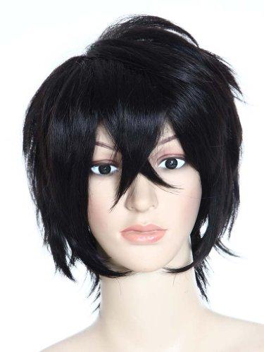 Amybria Anime Cosplay Layered Schwarz Kurz Haar perruque