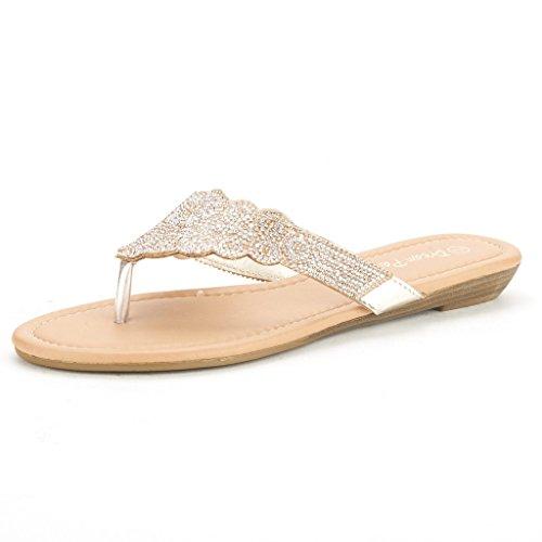 DREAM PAIRS DIAMONTE Women's Rhinestones Design Thong Strap Summer Fashion Flat Sandals GOLD-SZ-7