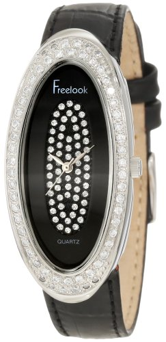 Freelook Women's HA8219-1 Blackleather Band & Dial Swarovski Dial & Bezel Watch