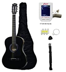 Crescent MG38-BK 38 Acoustic Guitar Starter Package Black (Includes CrescentTM Digital E-Tuner)