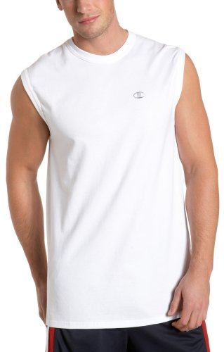 Champion Men's Jersey Muscle Tee,White,Large