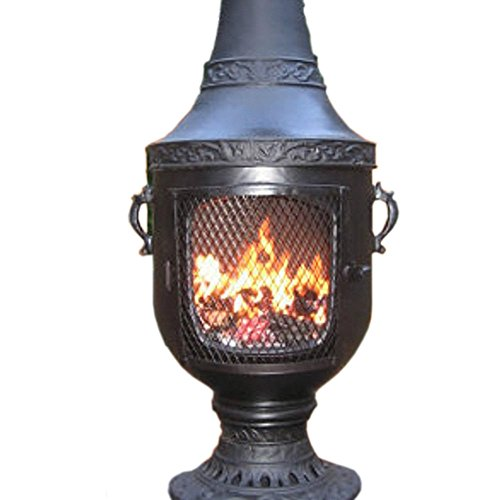 The Blue Rooster Cast Aluminum Rose Chiminea With Gas In