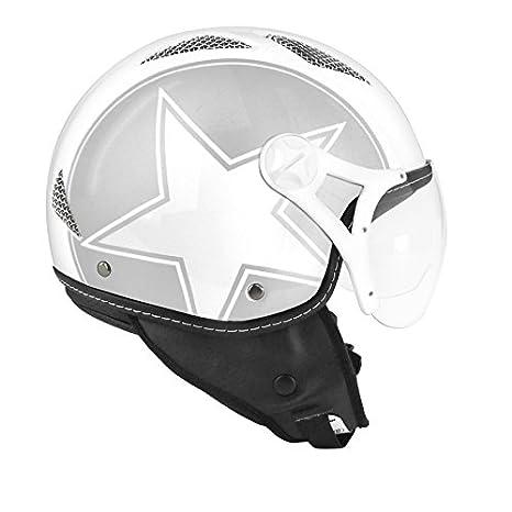 CASQUE JET TNT HELIOS STAR ARGENT/BLANC ---BRILLANT XS