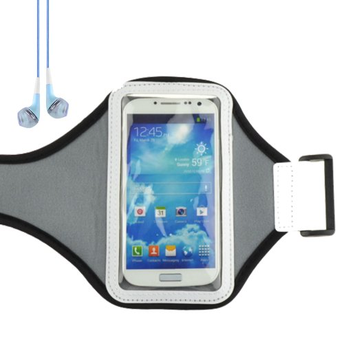 Outdoors Sports Armband Pouch Case For Samsung Galaxy S4 , Samsung Galaxy S3 ,Htc One (Grey) + Blue Vangoddy Headphones With Mic