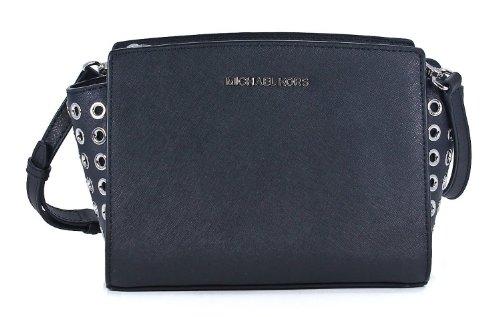 Michael Kors Selma Grommet Md Messenger Black Saffiano Leather Handbag