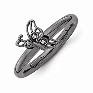 Sterling Silver Stackable Expressions Black-plated Butterfly w/Dia. Ring by US Gems