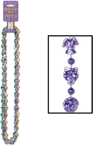 Mardi Gras Mask Beads (asstd gold, green, purple)    (3/Card)