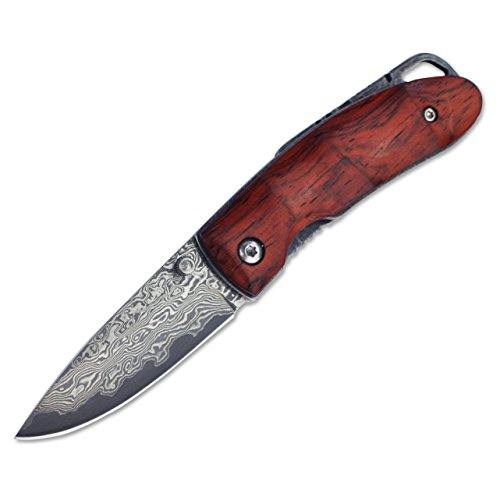 KUBEY Damascus Steel Folding Pocket Knife,Rosewood Handle,About 2 Inch Blade