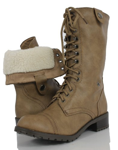 Women'S Taupe Lace-Up Combat Folded Cuff Riding Mid-Calf Boots Soda Oral 85