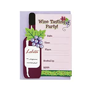 C.R. Gibson Lolita Fill in Wine Tasting Party Invitations, 10 Count