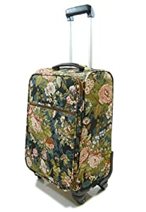 Tapestry canvas Travel Luggage/Overnight/Cabin bag/Suitcase 4 wheeled with retractable handle (Moon Flower) - Gobelin Style