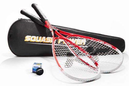 Victor 2x Squashschläger inkl. Squashball & Squashtasche Squashset Starter Kit