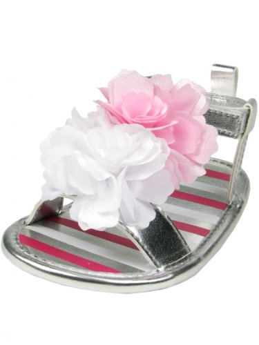 Silver Baby Girls Soft Sole Sandals with Pink Ruffle Strap by Stepping Stones