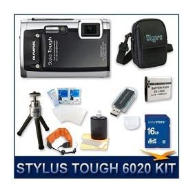 "Olympus Stylus Tough-6020 Digital Camera Black, 14 MP, 28mm 5X Optical Zoom, 2.7"" LCD Screen, Waterproof to 16', 16 GB Memory Card, Card Reader, Li-ion Battery, Deluxe Carrying Case, Floating Camera Strap, Tripod, Screen Protectors, and Lens Cleaning Kit"