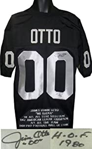 Jim Otto signed Oakland Raiders Black Prostyle Jersey HOF 1980 w  Embroidered Stats by Athlon Sports Collectibles