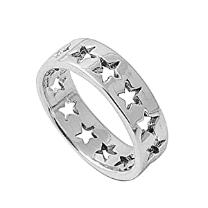 Sterling Silver Star Eternity Ring (Size 6 - 10) - Size 6