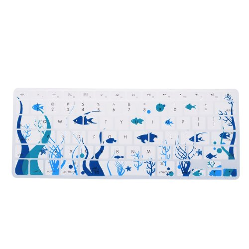 "Case Star Ocean Series Keyboard Silicone Cover Skin With The Seaweed And Fish Pattern For 13"" 7 15"" Retina Macbook Pro Aluminum Unibody (Black Keys, Without Dvd Rom, 13.3 / 15.4-Inch Diagonal Screen)"