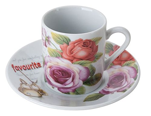 Set of 6 Porcelain Demitasse Cups and Saucers for Espresso or Turkish Coffee - Red & Pink Roses (Alpine Cuisine Espresso compare prices)