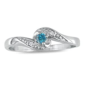 10K White Gold Blue Diamond Promise Ring .07ct tdw.