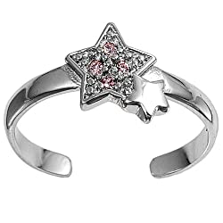 Sterling Silver Fashion Toe Ring - Stars with Pink CZ - 2mm Band Width