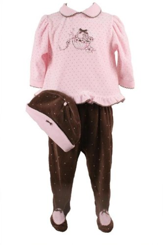 Vitamins Newborn Baby Girls 3 Pc Pink And Brown Polka Dot Pant Set With Maching Hat-6 Months