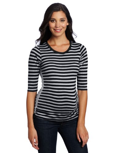 Three Seasons Maternity Women's 3/4 Sleeve Stripe Side Tie Top
