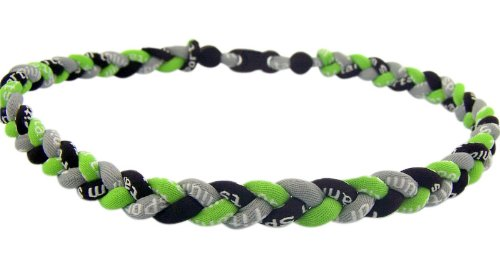 "20"" Tornado Titanium Fiber Baseball Softball Energy Braided Sport Necklace - Lime Green / Black / Gray"