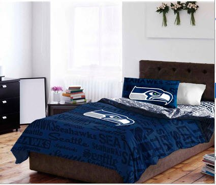 Seattle Seahawks Nfl Full Comforter Set (5 Piece Bed In A Bag)