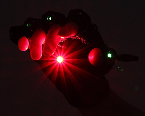 Laser Gloves A Pair Left & Right Hand 4 Pcs Green Laser w/ Red Light 532nm Dance Show Stage Lighting DJ Club