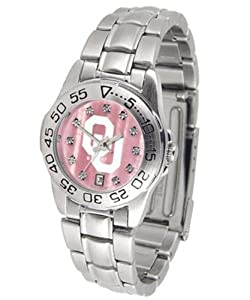 Oklahoma Sooners NCAA Mother of Pearl Sport Ladies Watch (Metal Band) by SunTime