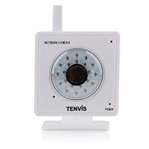 """Caméra IP de surveillance Tenvis Mini319W - Caméra IP de sécurité wifi sans fil d'intérieur à capteur CMOS 1/4"""" 300 000 Pixels - Contrôle/ visionnage possible depuis ordinateur Pc/Mac, Iphone, smartphone, tablette et depuis n'importe où via internet (Blanc)"""