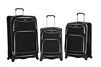 Rockland Luggage 3 Piece Polyester Spinning Set, Black, One Size