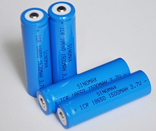 Sinomax@ 4pcs/lot 1500mah 3.7v 18650 Li-ion Battery Cell Rechargeable Lithium Ion Batteries for Led Flashligt and Torch