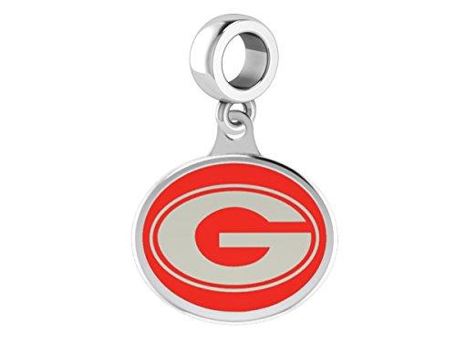 Georgia Bulldogs Sterling Silver Enamel Drop Charm Fits All European Style Beaded Charm Bracelets