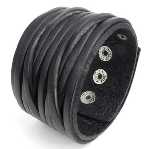 Konov Jewellery Wide Genuine Leather Unisex Men's Bangle Cuff Bracelet, Punk Rock Style, Fits 7.5