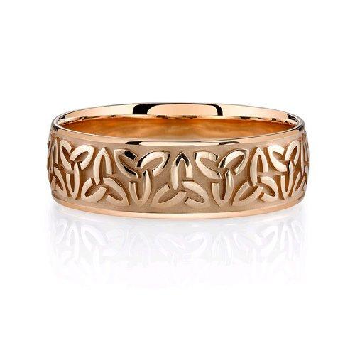 14K Rose Gold Celtic Trinity Wedding Band Ring For Men'S