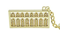 David & Mary High Quality Metal Gold Color Abacus Key Chain Key Ring Keychain with Gift Box