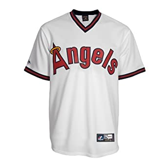 MLB California Angels Cooperstown Synthetic Replica Baseball Jersey, White by Majestic