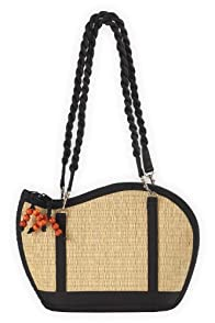 Baskets of Cambodia Hand Woven Tatami Wave Shoulder Bag (Natural)
